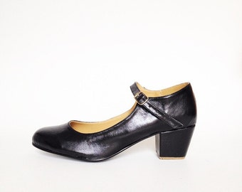 Biba Faux Leather Mary Janes heels (Handmade to order)