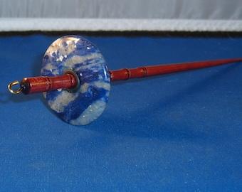 1.125 Oz Sodalite Stone Top Whorl Drop Spindle - Handmade