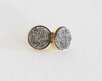 Sparkling Platinum Natural Druzy Stud Earrings - druzy quartz, gemstone studs, post, bridesmaid gift, under 40, small, glitter, jewel, black