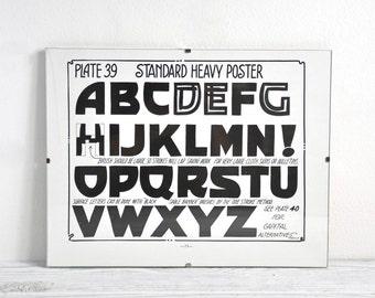 Vintage Framed Alphabet Print, Nursery Art, ABC Art, Alphabet Art, 1920s Print, Wall Decor