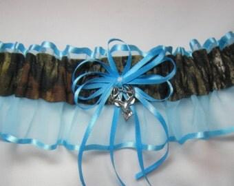 Turquoise Mossy Oak CAMOUFLAGE wedding garters DEER CAMO garter Keep