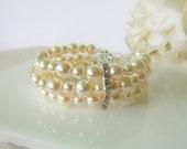 Ivory Pearl Bracelet, Multi Strand Pearl Bracelet, Three Strand Pearl Bracelet, Swarovski Pearl Cuff, Bridesmaids Jewelry