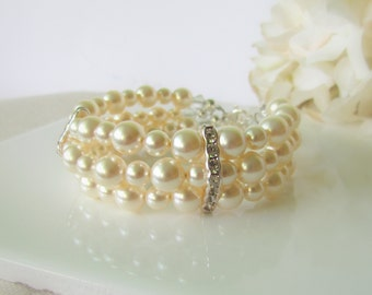 Ivory Pearl Bracelet, Multi Strand Pearl Bracelet, Three Strand Pearl Bracelet, Swarovski Pearl Cuff, Bridesmaids Jewelry