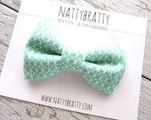 Kids Boys Toddler Bow Tie - Adjustable Velcro or Clip On - Ring Bearers, Weddings, Parties - Mint Green and White - Geometric Triangles