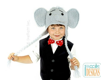 CROCHET PATTERN Jeffery the Elephant Crochet Hat Pattern in PDF