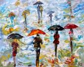 Original oil painting Urban Rain palette knife modern texture fine art impressionism by Karen Tarlton