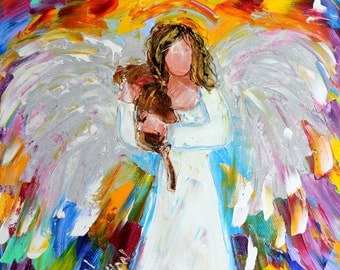 Angel Puppy Love print made from image of past Original painting by Karen Tarlton fine art impressionism