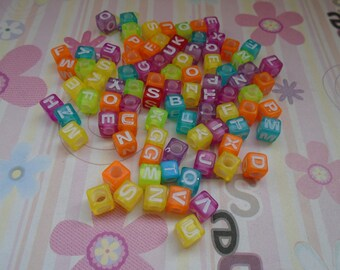 Wholesale 50pcs 7mmx7mm colorful Acrylic character/letter Beads with 3mm Hole
