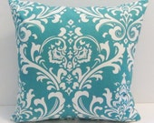 Turquoise damask pillow cover, accent pillow, throw pillow. 18 x 18 inch,  FREE SHIPPING Canada and US