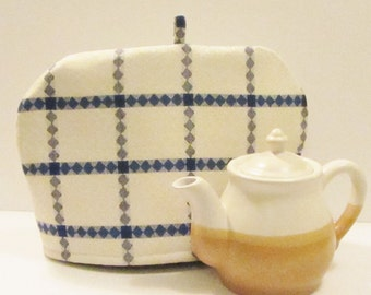 Linen tea pot cozy for medium size teapot, authentic natural linen imported from Finland, blue on off white