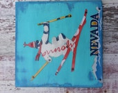 License Plate Art - Customized States Name Date - Skier Skiing Adventure -gift for him Recycled Art Company Salvaged Wood Upcycled Artwork
