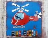 License Plate Art - Navy Red Funky Transportation Helicopter Adventure Boys Nursery Room - Recycled Art Company - Wood - Baby Shower Toddler