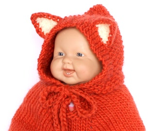 Baby fox costume Knit baby poncho Fox cape Baby girl costume Baby gift. Baby animal outfit. Children clothing Photo Prop Baby Shower gift