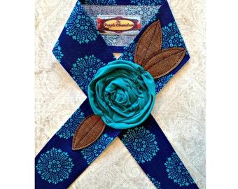 Blue and Teal Lace Headwrap Head Wrap  Summer Fashion Floral Headband  Sash Headcover Tie on Headband