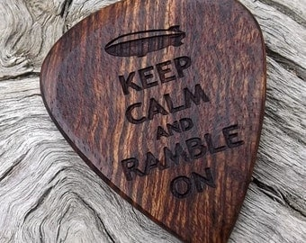 Wood Guitar Pick - Premium Quality - Handmade With Caribbean Rosewood - Laser Engraved Both Sides - Actual Pick Shown
