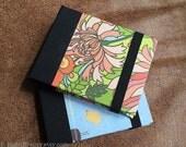 Refillable Post-it Note Pad Wallet Elastic Closure- Pink Peony