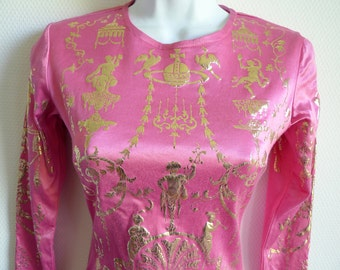 Vivienne Westwood 1992 Salon collection stretch pink dress with baroque gold print