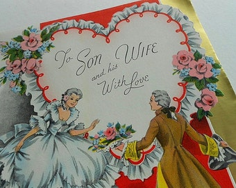 Vintage Valentine Card 1950 Son Wife Victorian Man Lady Dress Woman Couple Heart Lace Pink rose Sweetheart Gold Foil Volland Paper Ephemera