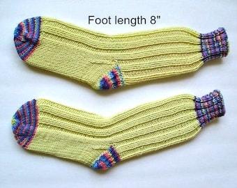 "Socks hand knit . Foot length 8"". Reinforced heel. Slipper socks. Boot socks.  Boot liners.Light yellow color. Ready to ship"
