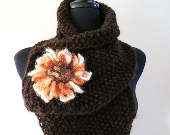 FREE US SHIPPING - Dark Brown Color Knitted Scarf Scarflette Collar Cowl with Cream Coral Color Crochet Flower Brooch Pin