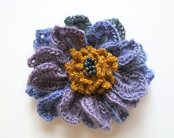 Lavender Violet Lilac Purple Gray Green Golden Mustard Color Crochet Statement Flower Brooch Hat Hair Shawl Scarf Pin