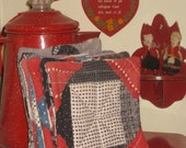 Quilt Pot Holders Set Mini Doll Quilts Hot Pads 1800s Turkey Red Indigo Blue Blocks Set of 2 Early Fabrics Vintage Kitchen Gifts