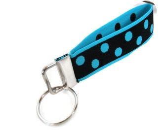 Stretchy Wrist Key Fob. Black and Turquoise Stretch Bracelet Style Keychain. Key Holder Wristlet Easy On Easy Off Keyring