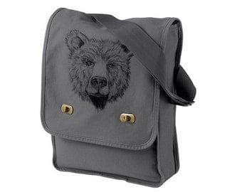 Bear Face Gray Messenger Bag - Grizzly Bear Cotton Canvas Messenger Bag - Authentic Pigment Canvas Field Bag