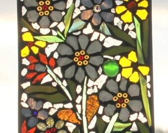 Mosaic ,flowers   -  Stained Glass SunCatcher or wall Decoration