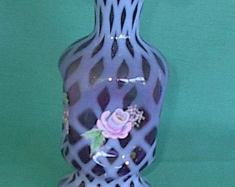"""opalescent vase hand painted pink roses rich purple 7"""" Fenton glass co"""