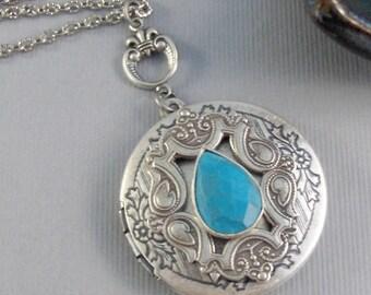 Artful Soul,Locket,Silver,Turquoise,Gemstone,Necklace,Antique Locket,Dream,Indian,Vintage Turquoise,Genuine Turquoise,Turqoise Stone,Blue