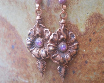 Copper Poppy Earrings