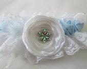 Light Blue Prom Garter, White Lace Wedding Garter, Something Blue Bridal Garter w/ Rose, AB Crystal Bling & Feathers