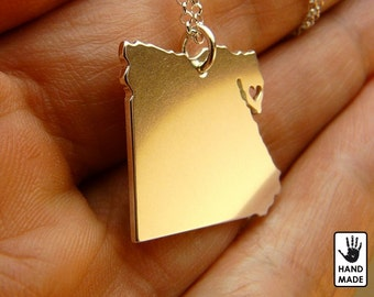 EGYPT hand cut sterling silver pendant, sterling silver chain