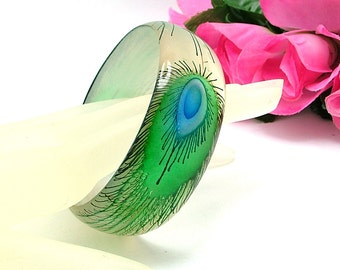 Vintage Bangle Bracelet Peacock Feather Design (Possibly Resin or Acrylic)