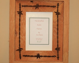 Picture Frame - 5 X 7 - Rustic Wood - Rope-Barbed Wire - Western - Recycled