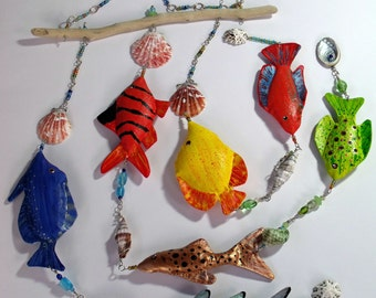 Handpainted Fabric Fish Mobile, 7 Tropical fish hanging decoration, sun catcher, with drift wood, shells & glass beads Hand made in the UK