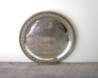 Vintage Round Silver Plate Tray Sheffield Reproduction