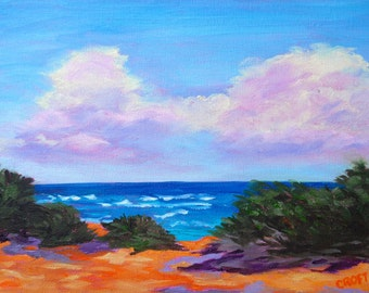 9 x 12 Original Impressionist Oil Painting of Poipu Beach Kauai Landscape by Rebecca Croft