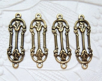 4 - Antiqued brass double rose connector, - FT117