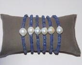 Sapphire Gemstone, Baroque Pearl , Sterling Silver Clasp, Bracelet, Bridesmaids, Bridal