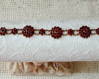 Antique Victorian Garnet Bracelet, Vintage Bohemian Garnet Bracelet, On Sale