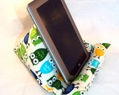 iPad Nook Kindle Pillow Stand in Blue and Green Urban Owls