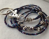 Purple Shimmer ID Badge Lanyard FREE SHIPPING with silver trims and detachable keyring