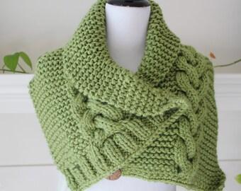 Knit Green Neckwarmer Shawl Scarf