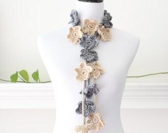 Crochet Gray, Beige Lariat, Necklace, Scarf, Scarflette - set of 2