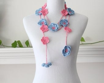 Crochet Blue Coralpink Lariat, Necklace, Scarf, Scarflette