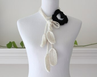 Crochet Black and Cream Lariat scarf, necklace, scarflette