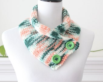 Hand Knit Green Peach Ivory Neckwarmer / Cowl