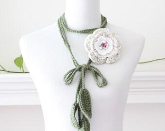 Crochet Ivory Pink Green Removable Brooch Lariat  Necklace, Scarflette